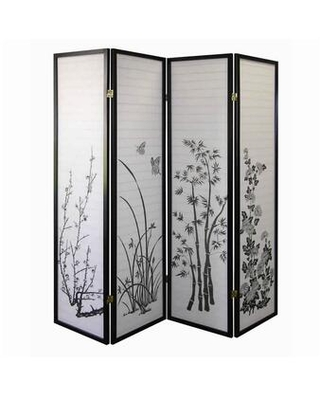 BM96093 Naturistic Print Wood and Paper 4 Panel Room Divider White and
