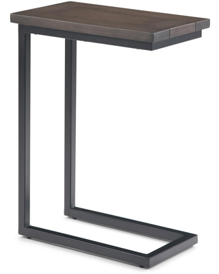 Brooklyn + Max Glenna Solid Mango Wood and Metal 18 inch Wide Rectangle Industrial C Side Table in Walnut Brown, Fully Assembled