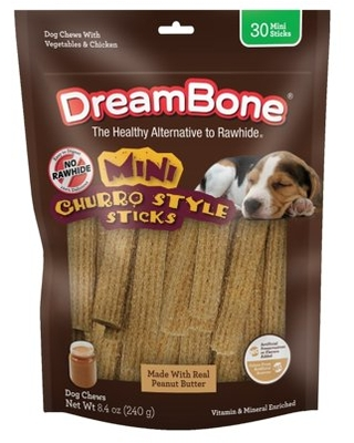 DreamBone Churro-Style Mini Sticks 30 Count, Made With Real Peanut Butter, Rawhide-Free Chews For Dogs