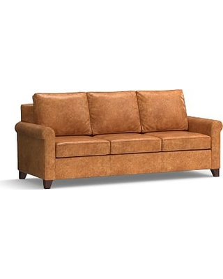 "Cameron Roll Arm Leather Sofa 90.5"", Polyester Wrapped Cushions, Leather Statesville Caramel"