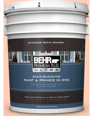 BEHR Premium Plus Ultra 5 gal. #230A-3 Apricot Lily Satin Enamel Exterior Paint and Primer in One