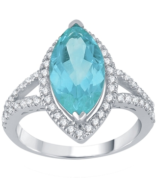 Sterling Silver with Natural Sky Blue Topaz and White Topaz Ring