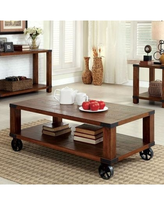 "Broadus Collection CM4227C 48"" Coffee Table with Metal Casters Metal Corner Accents Weathered Grain and Bottom Shelf in Dark"