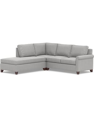 Cameron Roll Arm Upholstered Right 3-Piece Bumper Corner Sectional, Polyester Wrapped Cushions, Sunbrella(R) Performance Chenille Fog