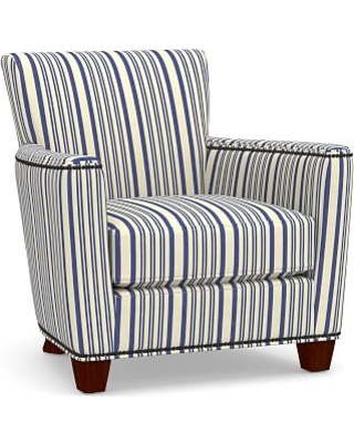 Irving Square Arm Upholstered Armchair with Bronze Nailheads, Polyester Wrapped Cushions, Antique Stripe Blue