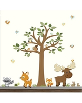 Woodland Forest Wall Decals-Forest Wall Stickers with Tree-Wall Decals-Nursery Wall Decor-Woodland Nursery Wall Art-Children's Wall Stickers Decals
