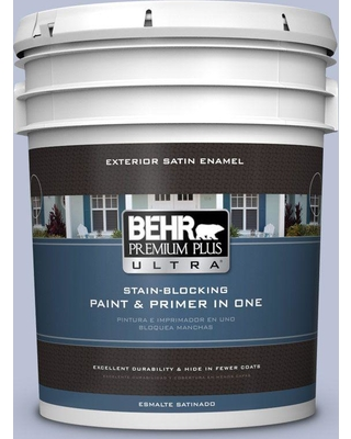 BEHR Premium Plus Ultra 5 gal. #590E-3 Hyacinth Tint Satin Enamel Exterior Paint and Primer in One
