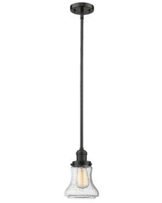 "Beachcrest Home™ Nardone 1 - Light Single Bell Pendant Finish: Oil Rubbed Bronze, Shade, Glass in Clear, Size Mini (Less than 6"" wide) 