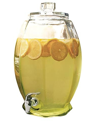 Circleware Cranston Beverage Dispenser with Glass Lid, Sun Tea Jar with Spigot Kitchen Entertain Glassware Water Pitcher for Juice, Wine, Kombucha and Cold Drinks, Clear, Huge 3 Gallon