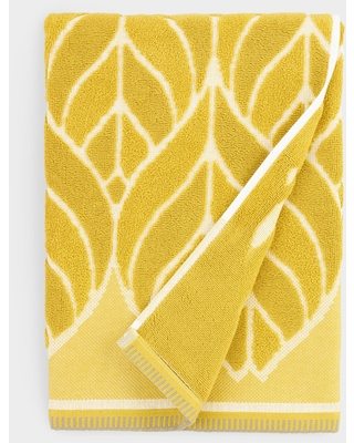 Chartreuse Green Leaf Sculpted Anise Bath Towel by World Market