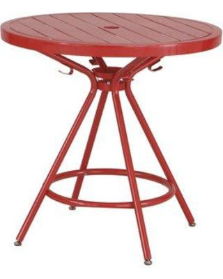 "Ebern Designs Spilsby Steel Dining Table W001011709 Color: Red Size: 30"" H x 30"" L x 30"" W"