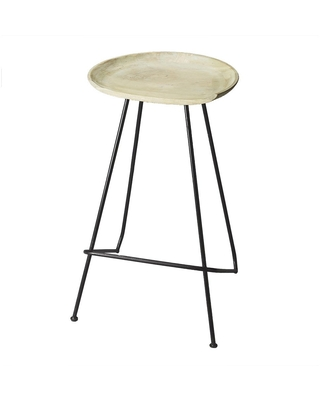Butler Transitional Wooden Oval Bar Stool in Metalwork Finish - Multicolor - N/A
