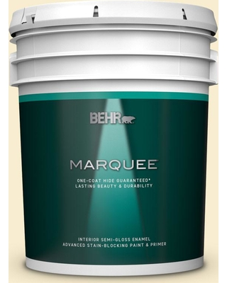 BEHR MARQUEE 5 gal. #300A-1 Opal Cream Semi-Gloss Enamel Interior Paint and Primer in One