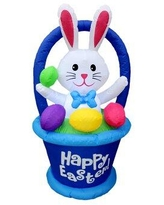 """The Holiday Aisle® Inflatable Bunny in Basket w/ Easter Egg Decoration, Polyester, Size 27"""" L x 28"""" W x 48"""" H 