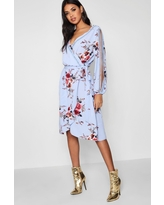 Womens Boutique Floral Split Sleeve Wrap Dress - Blue - 4