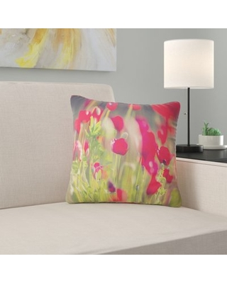 """Flower Poppies on Background Pillow East Urban Home Size: 16"""" x 16"""", Product Type: Throw Pillow"""