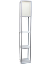 Simple Designs 62.75 in. Gray Floor Lamp Etagere Organizer Storage Shelf with Linen Shade