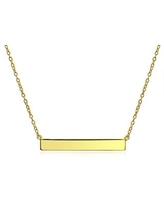 Thin Name Plate Style Engravable Sideways Diagonal Flat Bar Pendant Necklace For Women Rose Gold Plated Sterling Silver