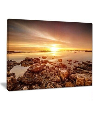 """Design Art 'Beautiful Sunset Over Rocky Beach' Photographic Print on Wrapped Canvas, Canvas & Fabric in Brown, Size 12"""" H x 20"""" W x 1"""" D 