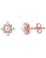 Children's Cultured Pearl Earrings White Topaz 10K Rose Gold