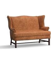 Thatcher Leather Settee, Polyester Wrapped Cushions, Statesville Caramel