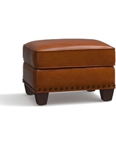 Irving Leather Storage Ottoman, Bronze Nailheads, Polyester Wrapped Cushions, Leather Legacy Dark Caramel