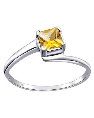 Multi Color Gemstones Sterling Silver Square Solitaire Ring by Orchid Jewelry (8 - Citrine)
