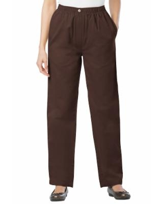 Plus Size Women's Elastic-Waist Cotton Straight Leg Pant by Woman Within in Chocolate (32 Wide)