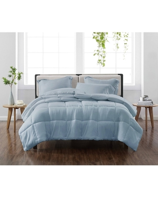 King 3pc Solid Comforter Set Blue - Cannon Heritage