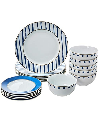 Amazon Basics 18-Piece Kitchen Dinnerware Set, Plates, Dishes, Bowls, Service for 6, Blue Accent