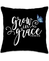Inspirational Christian Scripture Tees 2 Peter 3:18 - Grow in Grace Butterfly Scripture Throw Pillow, 16x16, Multicolor