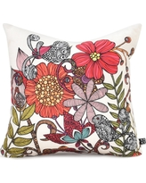 """Red/Floral Valentina Ramos Harmonia Throw Pillow - (18""""x18"""") - DENY Designs, Multicolored Red"""