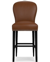 Maxwell Bar Stool w/Handle Tuscan Leather Solid Bourbon Polished Nickel