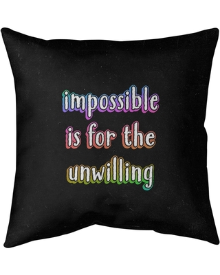 Sales On Quotes Impossible Quote Chalkboard Style Pillow Faux Linen 26 X 26 Square Zipper Closure Large Linen Removable Cover Accent