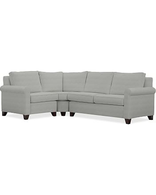 Cameron Roll Arm Upholstered Right Arm 3-Piece Wedge Sectional, Polyester Wrapped Cushions, Basketweave Slub Ash