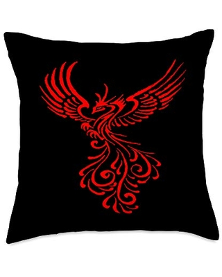 taiche Rising from The Ashes Phoenix Tattoo Design Throw Pillow, 18x18, Multicolor