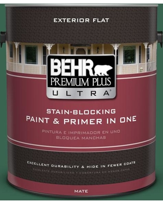 BEHR Premium Plus Ultra 1 gal. #480D-7 Isle of Pines Flat Exterior Paint and Primer in One