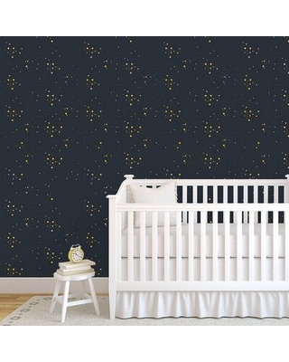 """Lemmon Starry Sky 48"""" L x 24"""" W Paintable Peel and Stick Wallpaper Panel Wrought Studio™"""