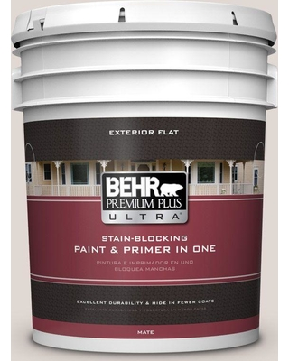 BEHR Premium Plus Ultra 5 gal. #N210-1 Taupe Tease Flat Exterior Paint and Primer in One