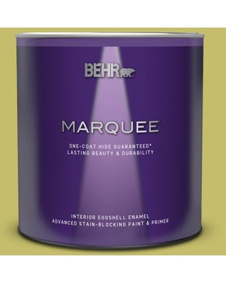 BEHR MARQUEE 1 qt. #P350-5 Go Lime Eggshell Enamel Interior Paint and Primer in One, Go Go Lime