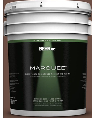 BEHR MARQUEE 5 gal. #pmd-108 Double Chocolate Semi-Gloss Enamel Exterior Paint and Primer in One