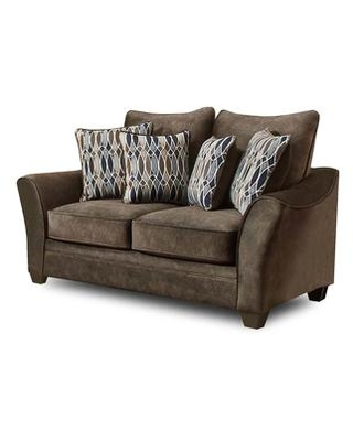 """Cupertino Collection 183852-2280-L-AB 73"""" Loveseat with Flared Arms Decorative Pillows Block Feet Athena Brown Fabric Upholstery in Brown"""