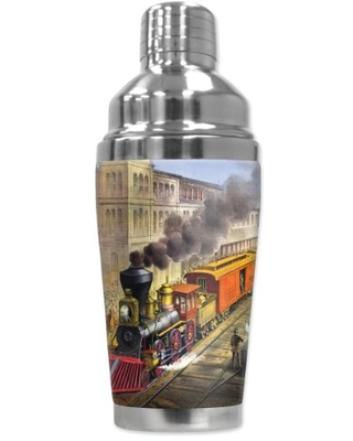 """Mugzie """"Currier & Ives Train"""" Cocktail Shaker with Insulated Wetsuit Cover, 16 oz, Black"""
