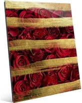"Click Wall Art Glass Red Roses and Stripes Graphic Art on Plaque BAT0000035GLS Size: 10"" H x 8"" W x 1"" D"