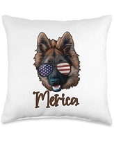 USA & 4th of July Dog Lover Gifts by Art Like Wow Dog German Shepherd American Flag Sunglasses USA 4th Of July Throw Pillow, 16x16, Multicolor
