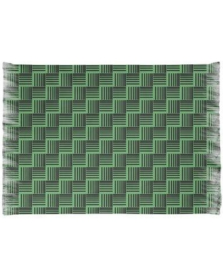 East Urban Home Basketweave Stripes Green/ Black Area Rug W000509507 Non-Skid Pad Included: Yes