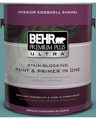 BEHR Premium Plus Ultra 1 gal. #MQ6-33 Vintage Teal Eggshell Enamel Interior Paint and Primer in One