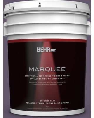 BEHR MARQUEE 5 gal. #PPU17-04 Darkest Grape Flat Exterior Paint and Primer in One