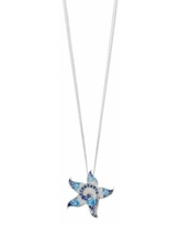 """Sterling Silver Mother-of-Pearl & Cubic Zirconia Mosaic Star Pendant Necklace, Women's, Size: 18"", Blue"""