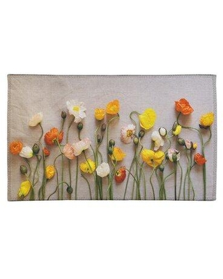 East Urban Home Dried Flowers Chenille Off White/Yellow/Red Area Rug FCLR9778 Rug Size: Rectangle 2' x 3'
